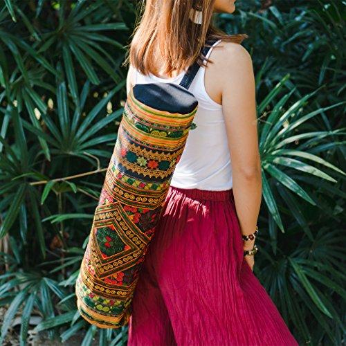 Cherr Yoga Mat Bag with Yellow Diamond Hmong Tribes Embroidery