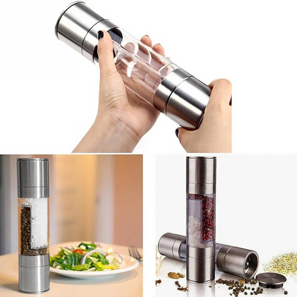 Pepper and Salt Mill Dual Grinder, 2 in 1 Spice Stainless Shaker Travel Set, Combo Adjustable Ceramic Rotor Grinding Core for Cumin, Suitable Seasoning Food Salad Kit, Home Kitchen BBQ Outdoor Camping