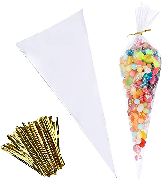 100 Bags,12 inches Clear Cellophane Cone Shaped Treat /& Favor Bags