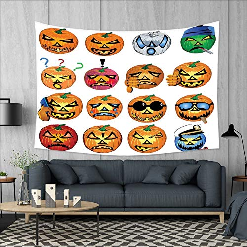 smallbeefly Halloween Tapestry Wall Hanging 3D Printing Carved Pumpkin with Emoji Faces Halloween Inspired Humor Hipster Monsters Artwork Beach Throw Blanket 60