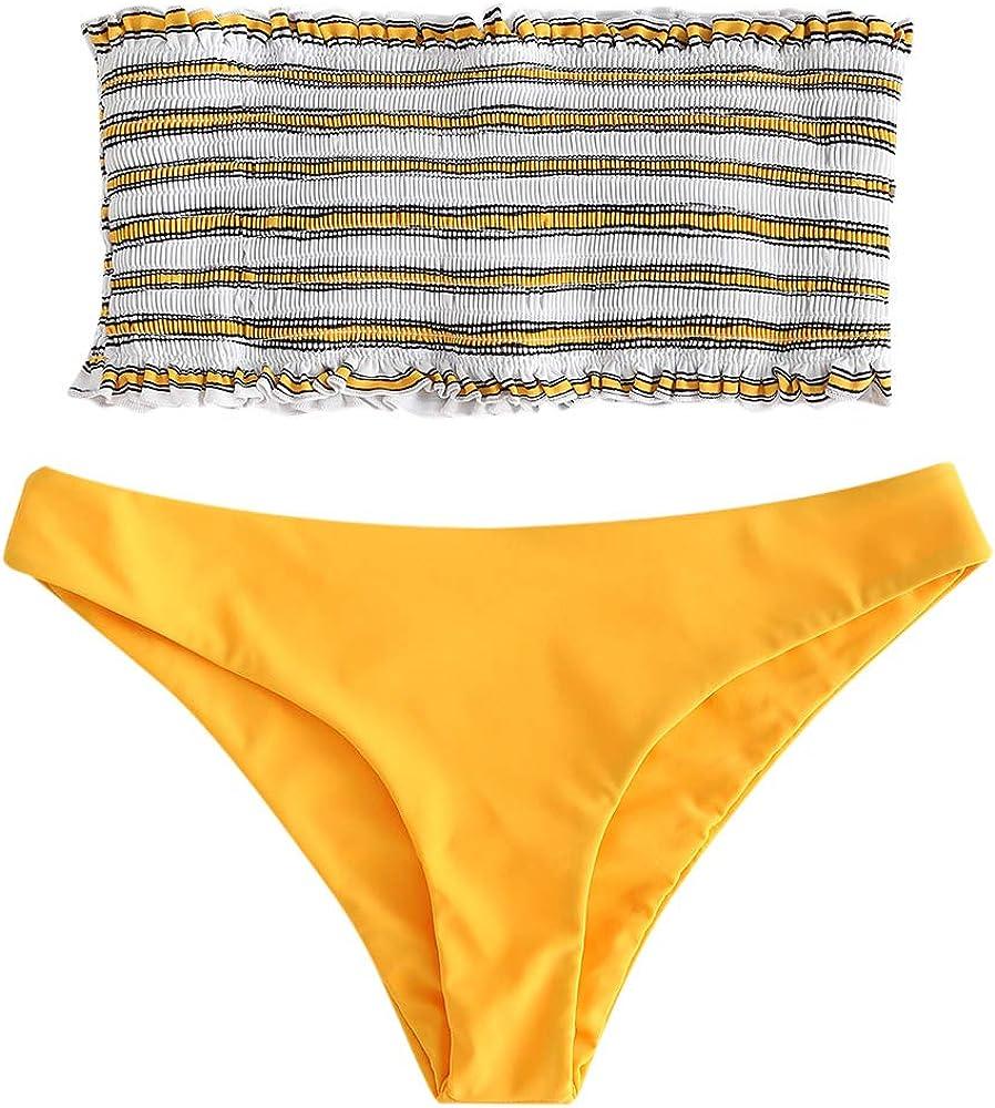 Costumi da Bagno da Donna Fascia a Strisce ZAFUL Assemblea Bikini Due Parti Coppa Alta Senza Spalline