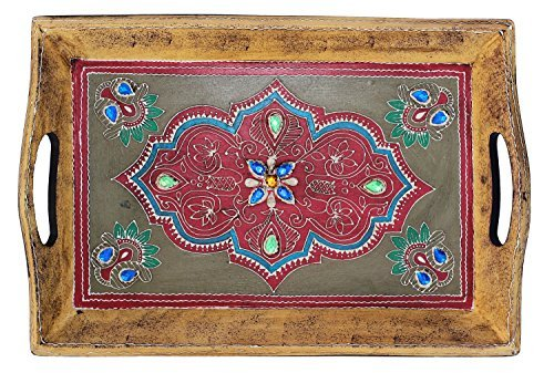 *Items on Sale for Prime Offer* SouvNear Handmade Wooden Decorative Tray - 16 x 10 Inch Antique-Look Hand-Painted