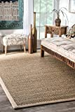 nuLOOM 200BHSG01A Elijah Seagrass with Border Area Rug, 2' x 3', Beige