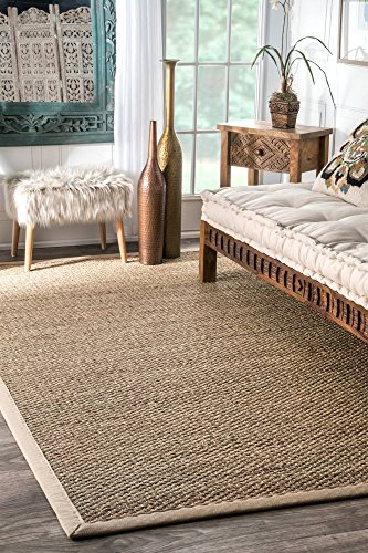 nuLOOM Elijah Seagrass with Border Area Rug, Beige, 8' x 10' - Casual Striped Rug