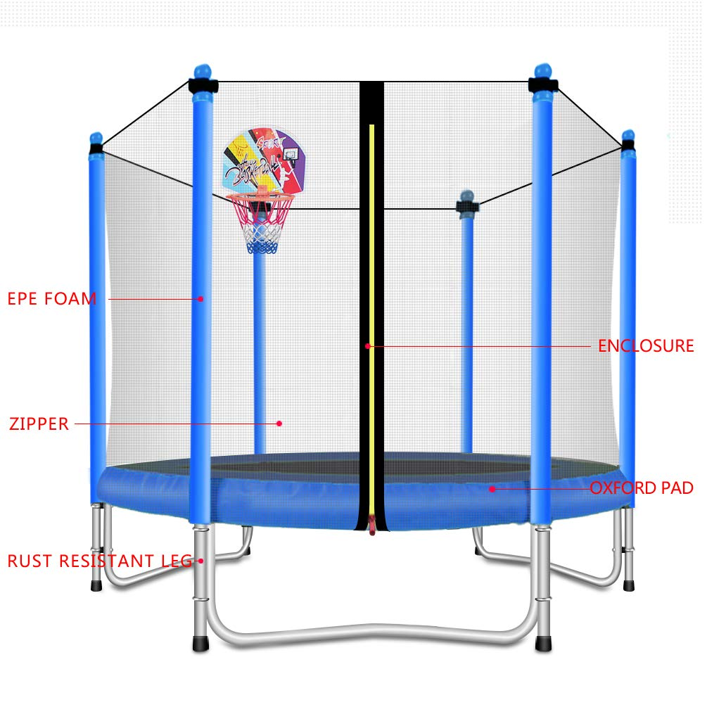 Lovely Snail Trampoline with Basketball Hoop-Trampoline for Kids-Blue-5 Feet by Lovely Snail (Image #4)
