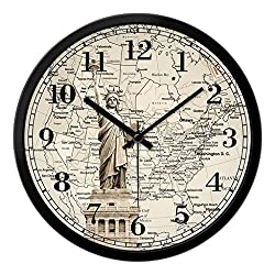 Large Shabby Chic Vintage Style Wall Clock With Statue Of Liberty Clock ( Size : 14in )