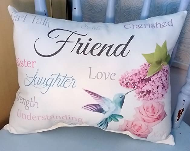 sentimental friend gift pillow with hummingbird roses and lilacs birthday gift christmas gift