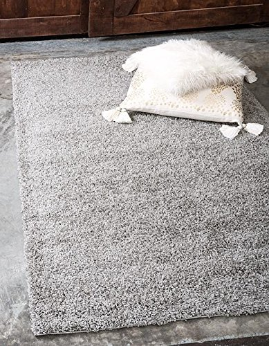 Unique Loom Solid Shag Collection Cloud Gray 4 x 6 Area Rug (4' x (Clouds Collection)