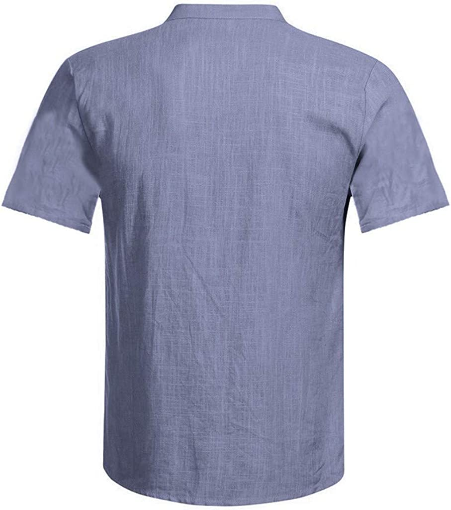 F/_Gotal Mens Cotton Linen T-Shirts Fashion Summer Short Sleeve Solid Color Casual Tees Blouse Tops Polo Shirt for Men
