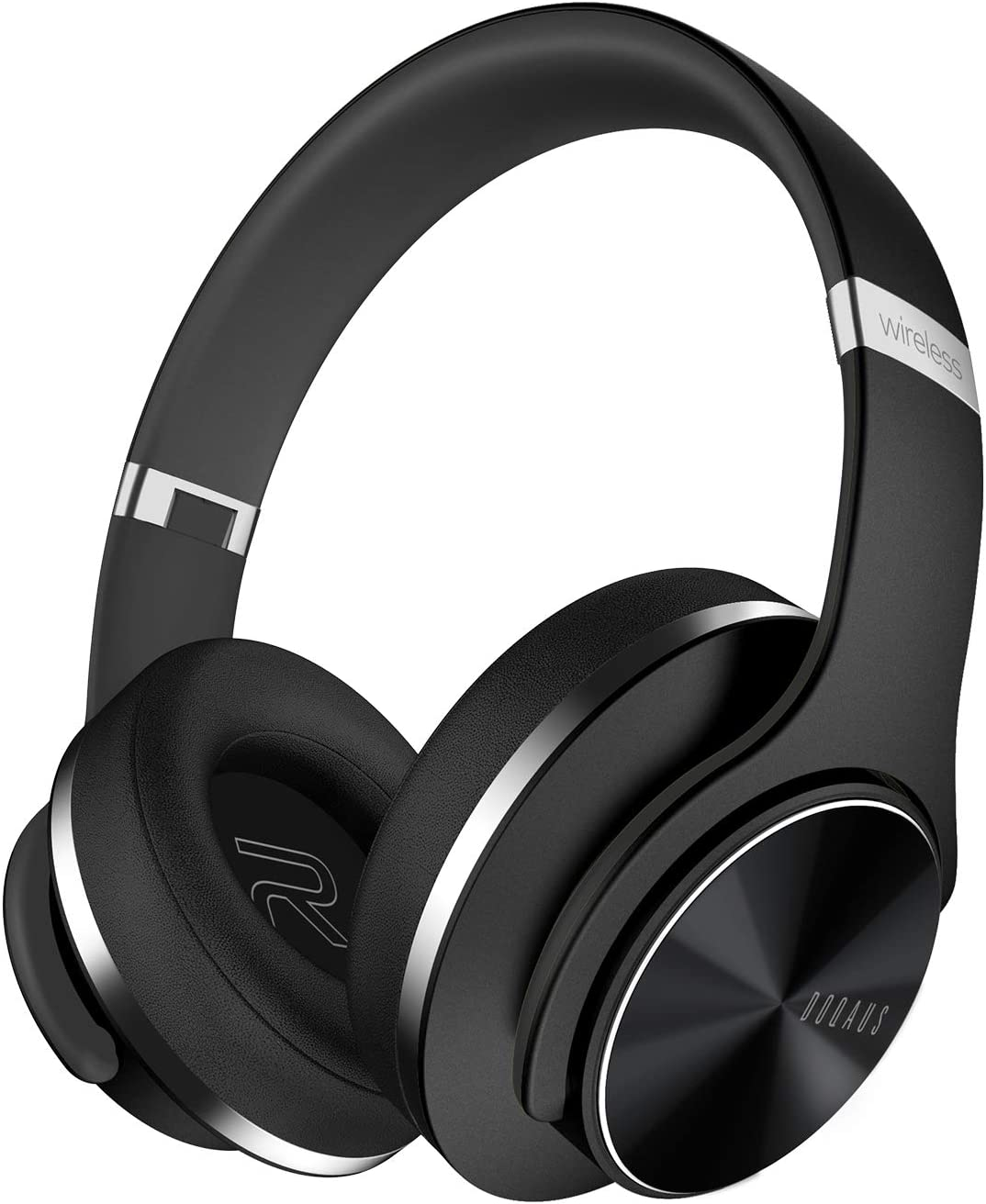 DOQAUS Cascos Bluetooth Diadema, 52 Hrs de Reproducir, con 3 Modo de EQ Cascos Bluetooth Inalambricos Plegable, orejeras proteína suaves, Micrófono Incorporado&Modo cableado, para TV/PC/Móviles(Negro)