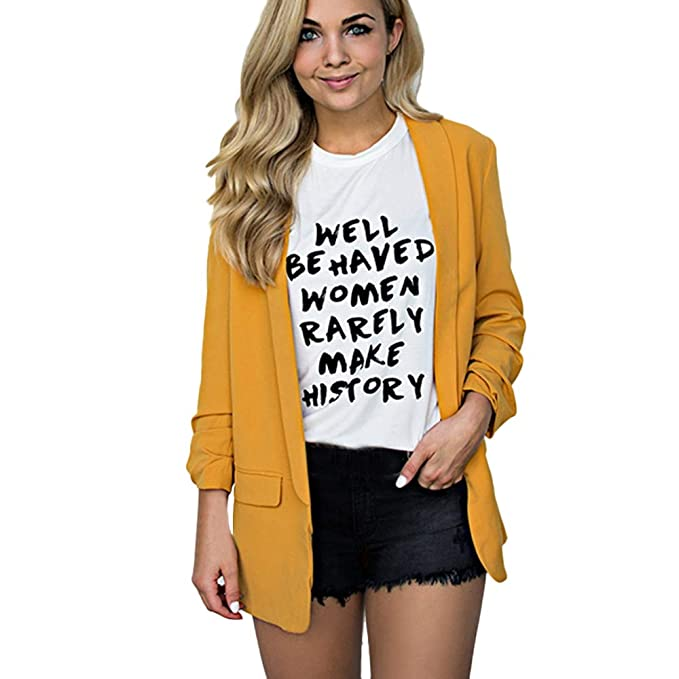 Heligen Mujer Abrigo de Simple-Fashion Invierno y OtoñO Elegantes Chaquetas de Traje y Blazers de Abrigo Cardigan Outwear De Manga Larga Talla Grande ...