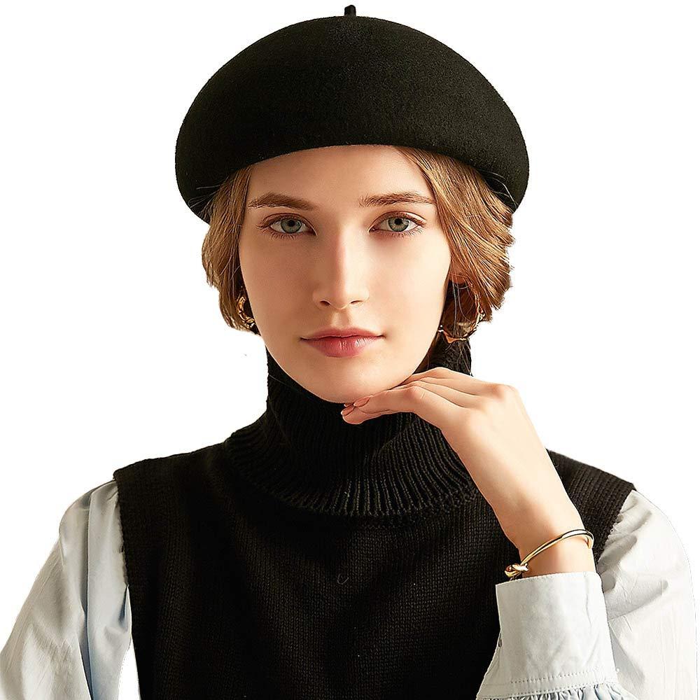 FADVES Women 100% Wool Berets Cap French Style Beanies Caps Artist Hats Black