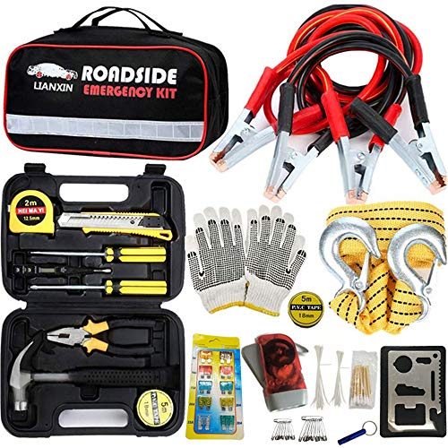 LIANXIN Car Emergency Kit - Road Rescue First Aid Kit for Automotive Safety Kit,Jumper Cable (129 Pieces),Multi-Purpose Tool Kit,Traction Rope,etc The Ultimate Product is Integrated for All Cars