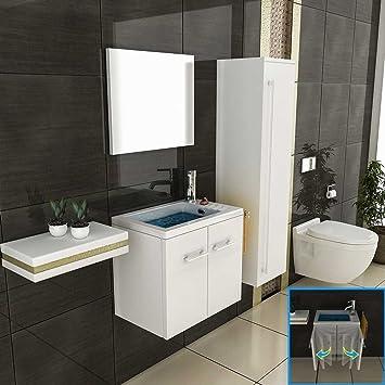 Badmöbel Set 50 Cm In Hochglanz Weiß, 2 Tlg.mit 1 Waschplatz Mit