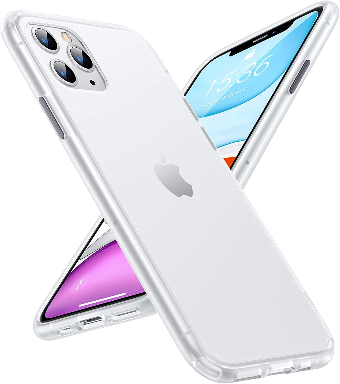 TORRAS Shockproof Compatible for iPhone 11 Pro Max Case, [Military Grade Drop Protection] [Anti-Scratches] Translucent Matte Hard PC Back with Soft Edges, Non-Slip Phone Case, Smoke White