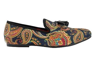 50b238c13e Mens Vintage Black Blue Designer Style Paisley Print Leather Tassel Loafer  Shoes