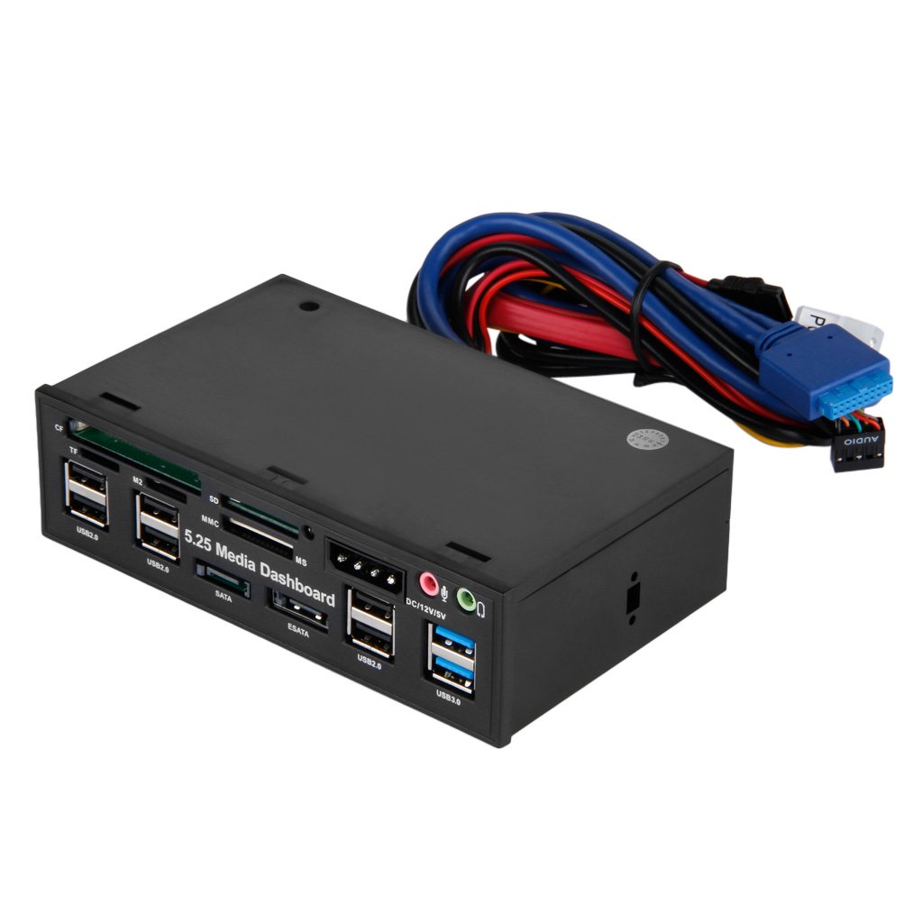 Fayleeko 5.25'' Media Dashboard Muiti-funtion Card Reader USB 2.0 USB3.0 20Pin e-SATA SATA Front Panel