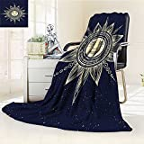 YOYI-HOME Duplex Printed Blanket Warm Microfiber Sun with Face Boho Chic Esoteric Solar Spiritual Display Yellow Dark Blue for Bed or Couch/W59 x H39.5