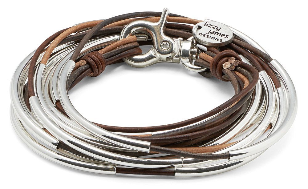 Lizzy Too Silverplated 5 Strand Tri Color Brown Leather Wrap Bracelet (XXLarge (7 1/2'' - 7 3/4''))