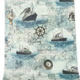 BESTERY Self-adhesive Retro Ship Voyage Ocean Wallpaper furniture Remake stickers PVC Backsplash cabinets Contact Paper,17.7in X 118in (Blue)