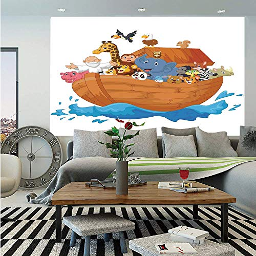 Noahs Ark Removable Wall Mural,Noahs Ark Cartoon Style Mammals Smiling Transport in Only Ship Artwork Print,Self-Adhesive Large Wallpaper for Home Decor 66x96 inches,Multicolor