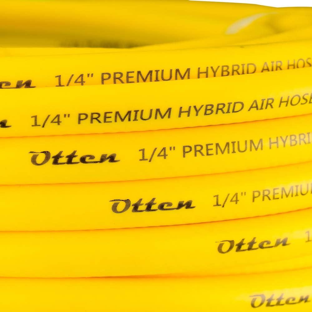 All weather flexibility,Heavy Duty Otten Premium Hybrid Air Hose 1//4 x 50ft yellow Lightweight