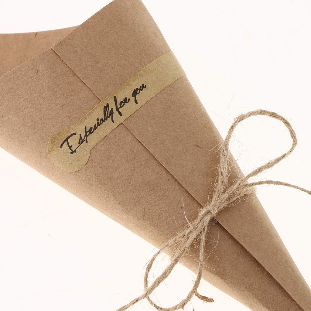 Paquete De 50 Etiqueta engomada de la Flor de Kraft Individual Fenteer Boda Conos De Confeti Bouquet Dulces Bolsas De Chocolate Regalos para El Banquete De Boda