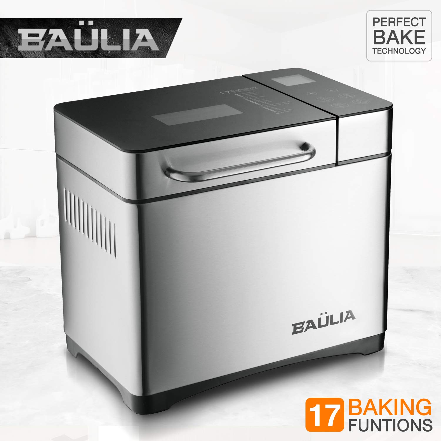 Baulia BM821 Custom loaf Bread Maker Machine - Gluten/Sugar Free Functions 17 Programmable Bread Types Settings