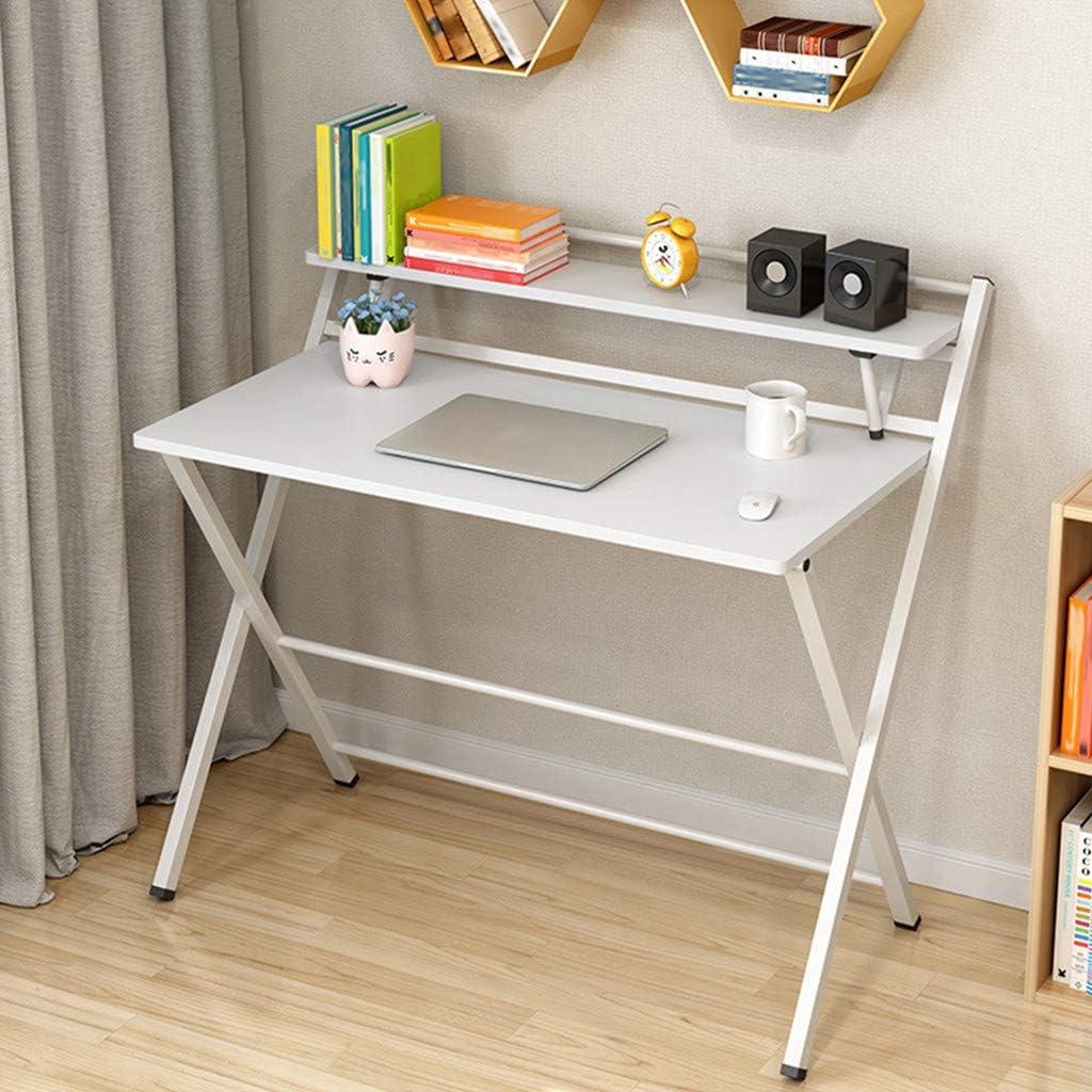 Folding Study Desk with Shelf, Airpow Home Office Desk Corner Desks for Small Space, Simple Computer Desk with Shelf, Folding Laptop Table Writing Desktop Table Workstation