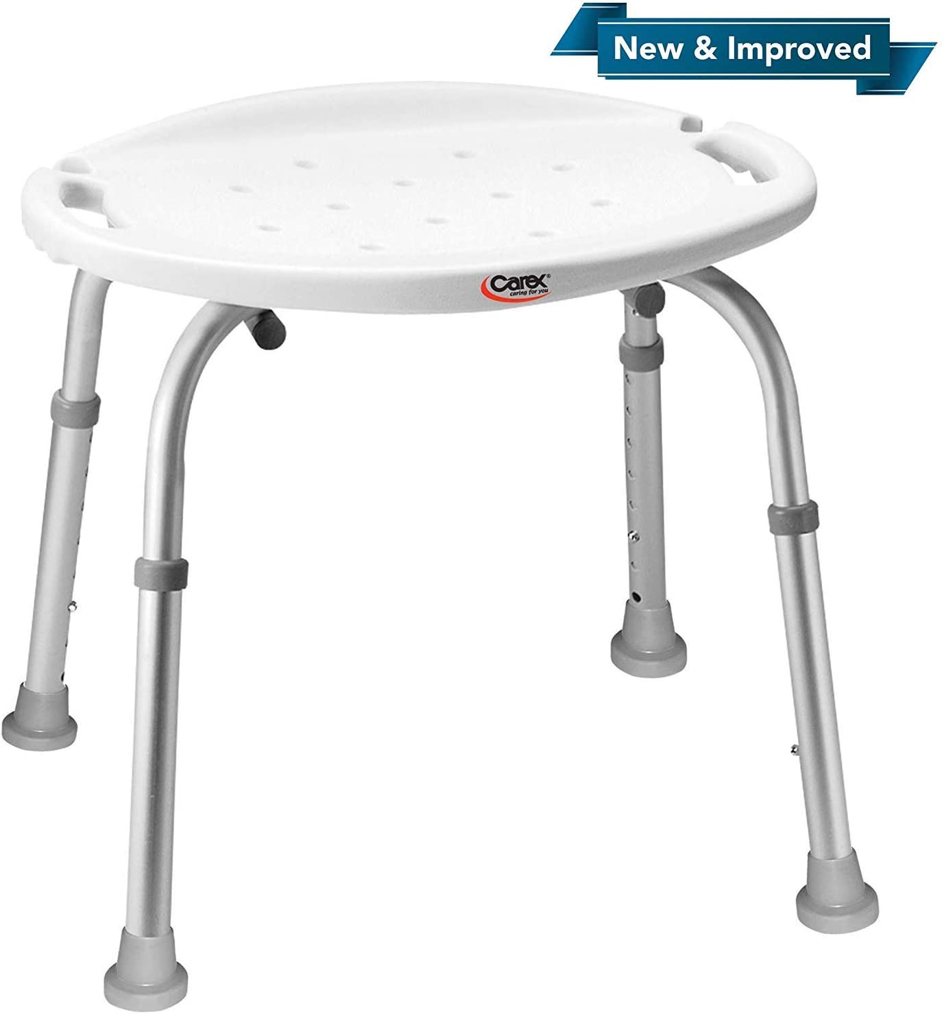 Carex Adjustable Bath and Shower Seat – Shower Stool - Aluminum Bath Seat - Shower Chair with Handle