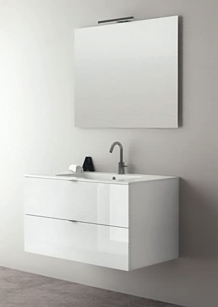 yellowshop - Mobile Suspended Bath Sink in Wood 90 cm Complete in ...