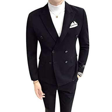 aac6371be0872f Men's Double Breasted Suit Jacket Slim Fit Vintage Fashion Dinner Dress  Black
