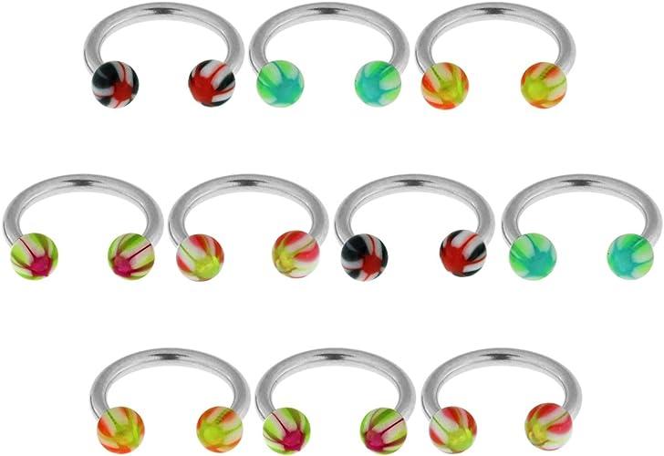 UV Multi Colored Marble Swirl Taper Ear Expander Body jewelry