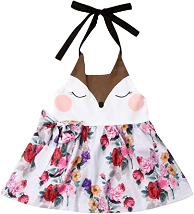 Toddler Kids Baby Girl Outfit Clothes Sleeveless Summer Cherry Dress Backless Q