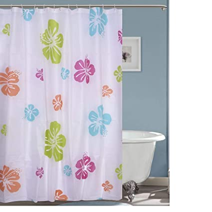 Ininsight solutions PVC Printed Floral Bathroom Shower Curtain with 12 Hooks (Multicolour, 180x180cm, 6ft)