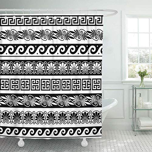 Geometric Greek Vases - Emvency Fabric Shower Curtain with Hooks Athens Ancient Greek Pattern of Antique Borders from Greece Wave Vase Abstract Culture 60