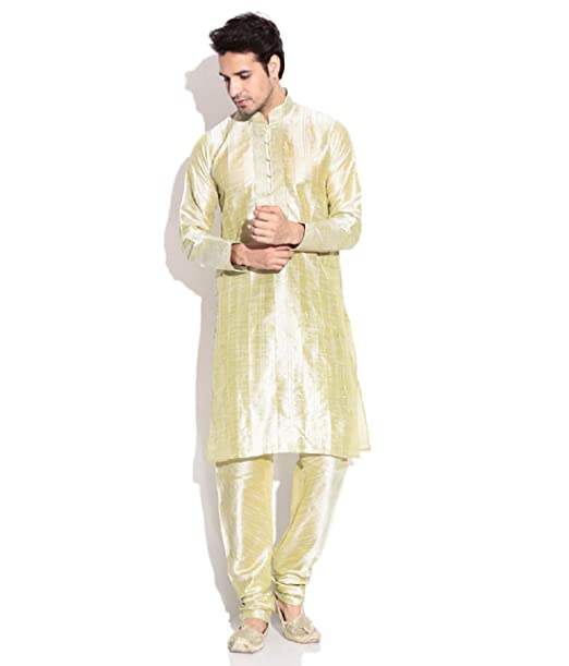 Royal Kurta de los hombres Jacquard Kurta pijama Set - Dorado -