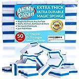 (50 Pack) Extra Durable Magic Cleaning Eraser Sponge - 2x Thick, 3x Stronger Melamine Sponges in Bulk - Multi Surface Power Scrubber Foam Pads - Bathtub, Floor, Baseboard, Bathroom, Wall Cleaner