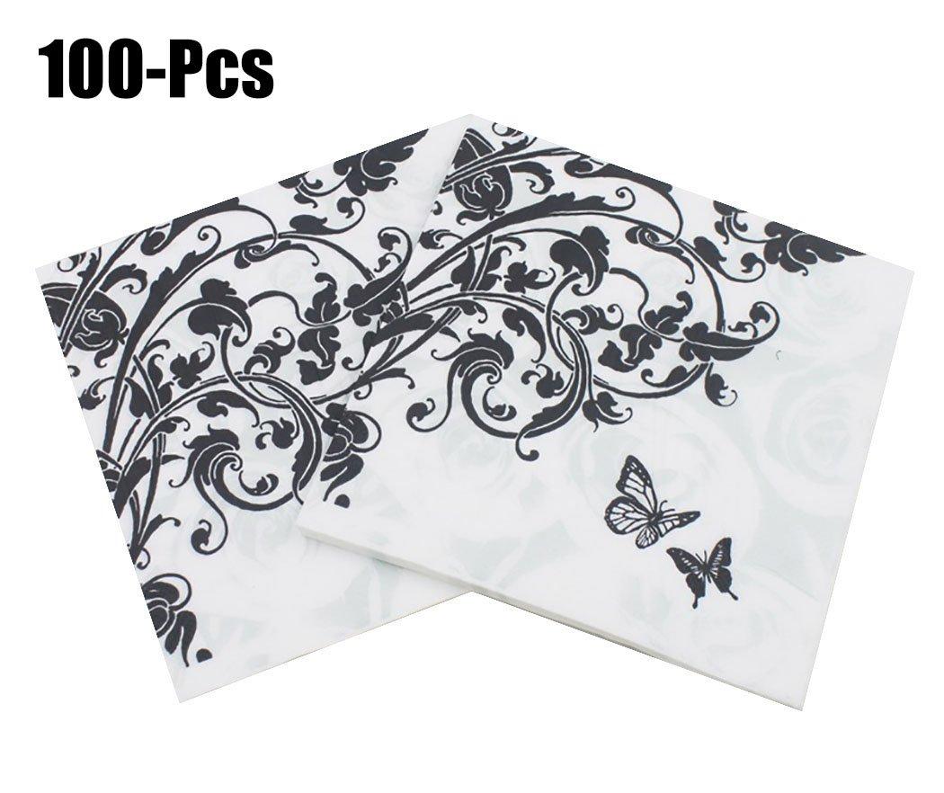 Funpa 100PCS Party Napkins Floral Printed Paper Napkins Fashionable Beverage Napkins Party Banquet Napkins