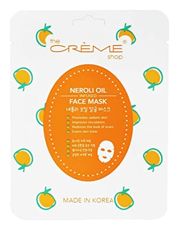 Neroli Oil Infused Face Sheet Mask - 1 Count by The Creme Shop (pack of 2) Kiehls Ultra Facial Set: UV Defense 60ml + Cream 50ml + Toner 40ml + Cleanser 30ml + Concentrate 5ml + Bag - 5pcs+1bag