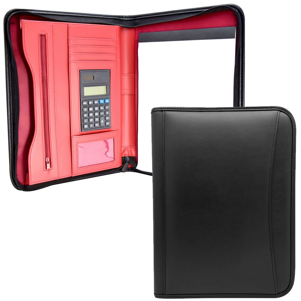 MSP Medium Size Zipper Business Padfolio with RED Liner | Interview/Legal Document Organizer & Business Card Holder, 8.5'' x 11'' Writing Pad