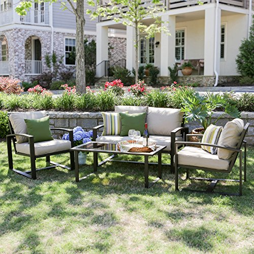 Jasper Patio Chair (Leisure Made Jasper 4 Piece Outdoor Seating, Tan Fabric)