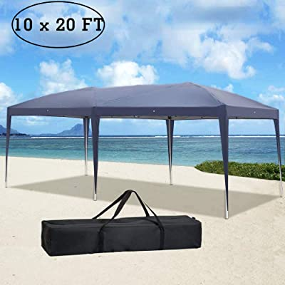 COCIVIVRE 10 x 20 ft Canopy Tent Ez Easy Up Commercial Vendor Instant Shelter with Carry Bag, Safety Heavy Duty Folding Tent Canopy Cover for Backyard Outdoor - Blue : Garden & Outdoor