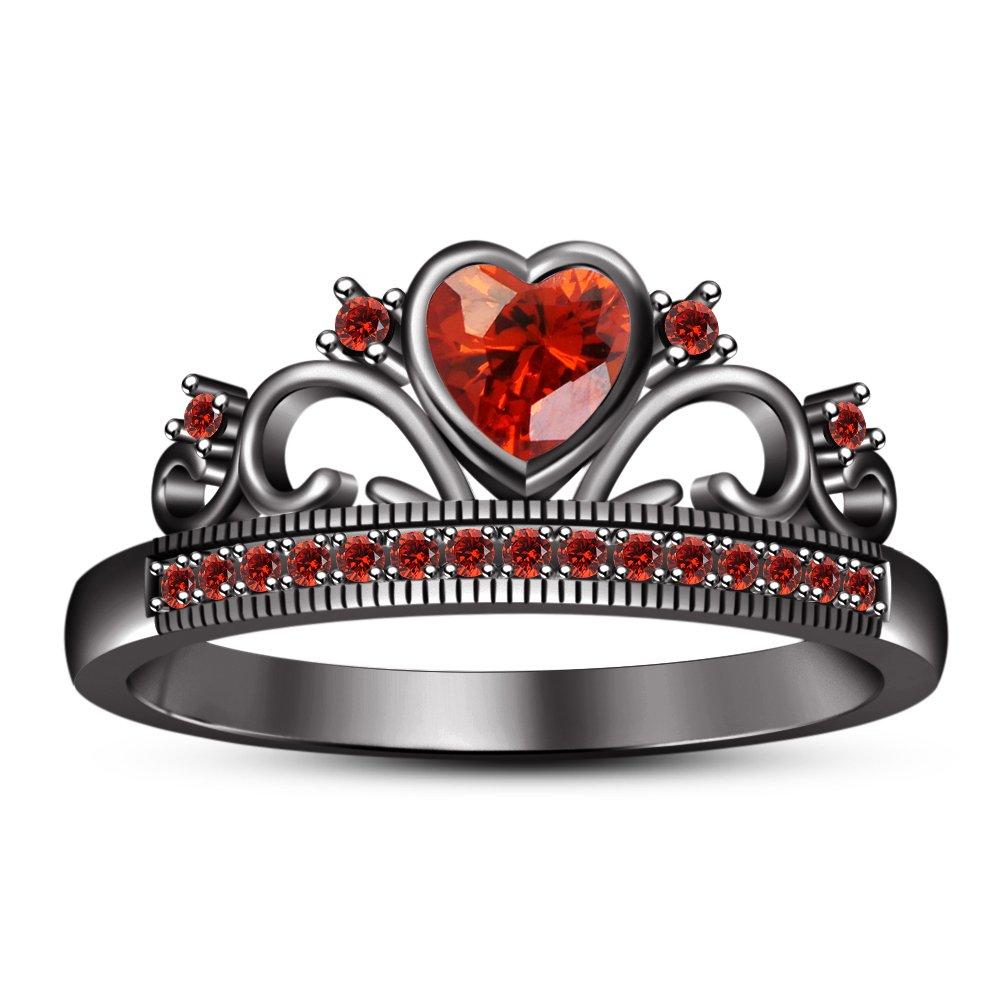 V 1 2 Vorra Fashion Black Rhodium Plated Women's Crown Engagement Ring Heart Shape Red Garnet