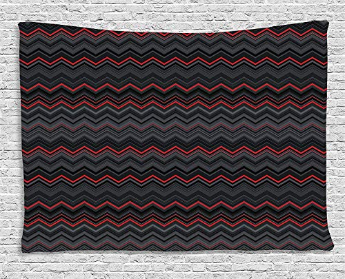 Utopone Red and Black Tapestry Nature Art, Horizontal Zigzag Chevron Design with Bold Thin Print, Nature Tapestry Wall Hanging for Bedroom, 90 W x 60 L Inches, Charcoal Grey]()