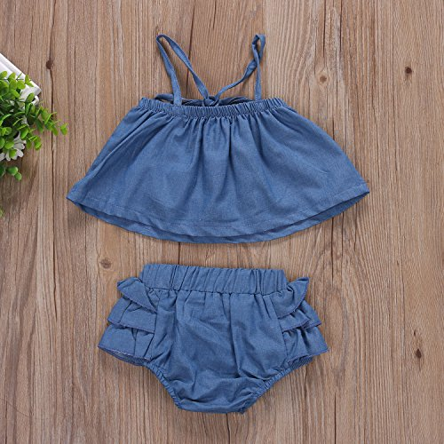 34b9b9f24 Newborn Infant Baby Girl Off Shoulder Halter Denim Tops+Ruffle Tutu ...