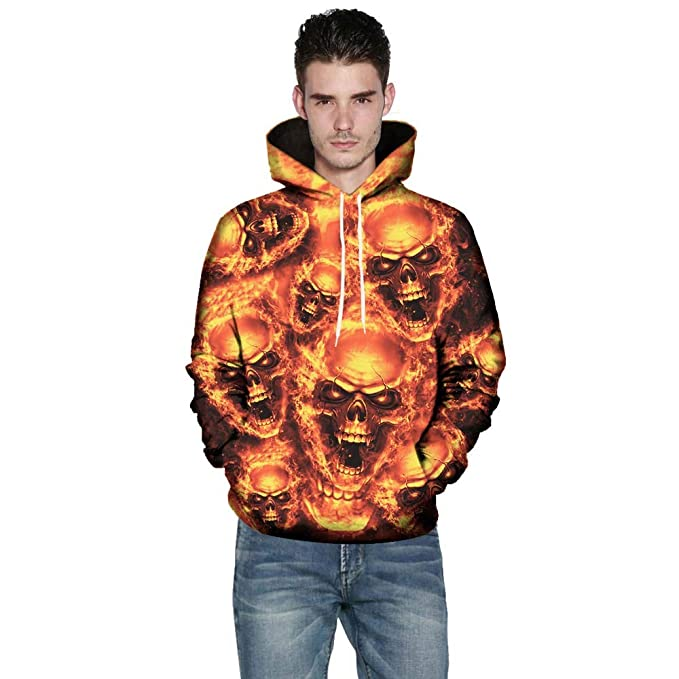 Amazon.com: Easytoy Mens 3D Printed Skull Pullover Long Sleeve Hooded Sweatshirt Tops Blouse: Sports & Outdoors