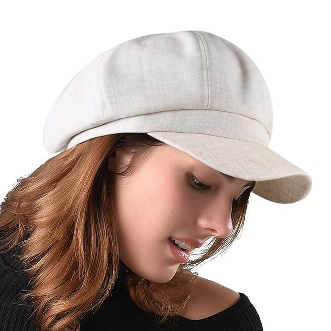 6aafa225a7fdda FURHATMALL Newsboy Cap for Women Spring Summer Thin Cotton Linen Gatsby  Visor Hat Beige