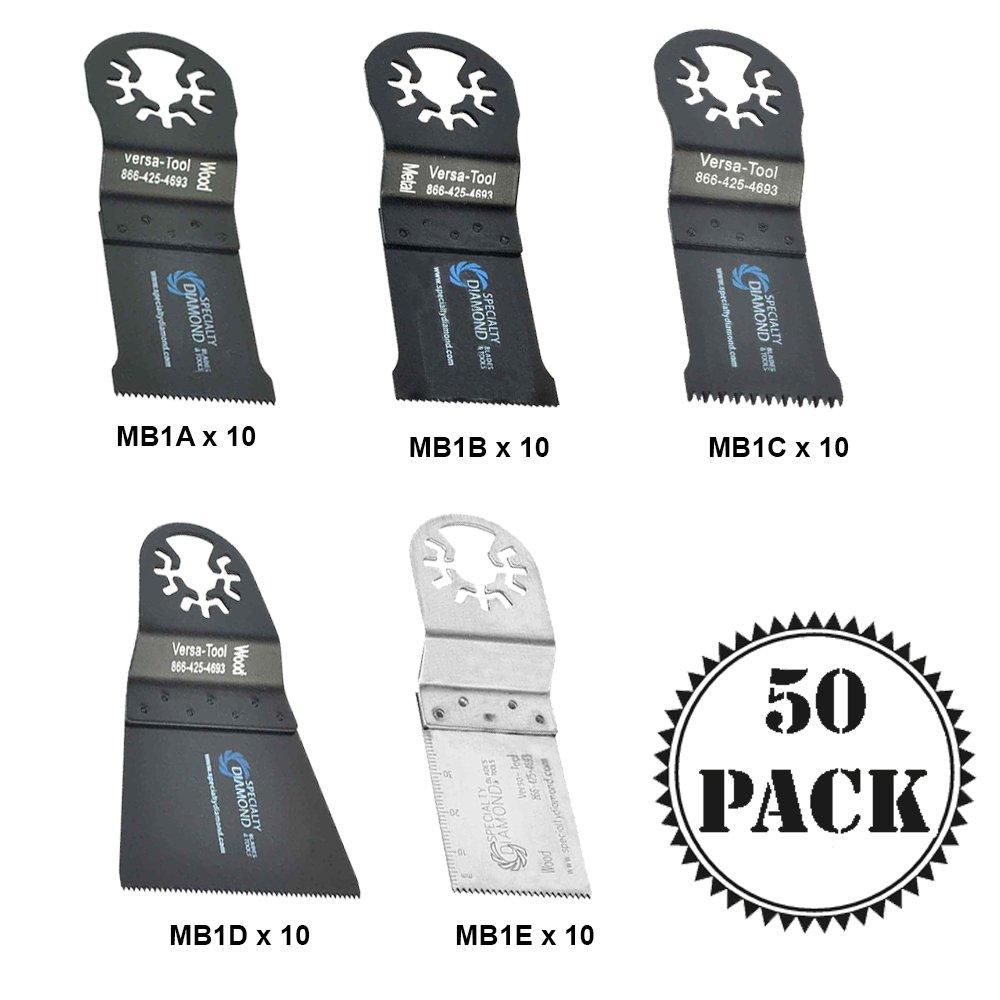 Versa Tool MBLKIT2 Pack of 50 5 Type Universal Wood Metal Multi Power Tool Saw Cutting Oscillating Blades