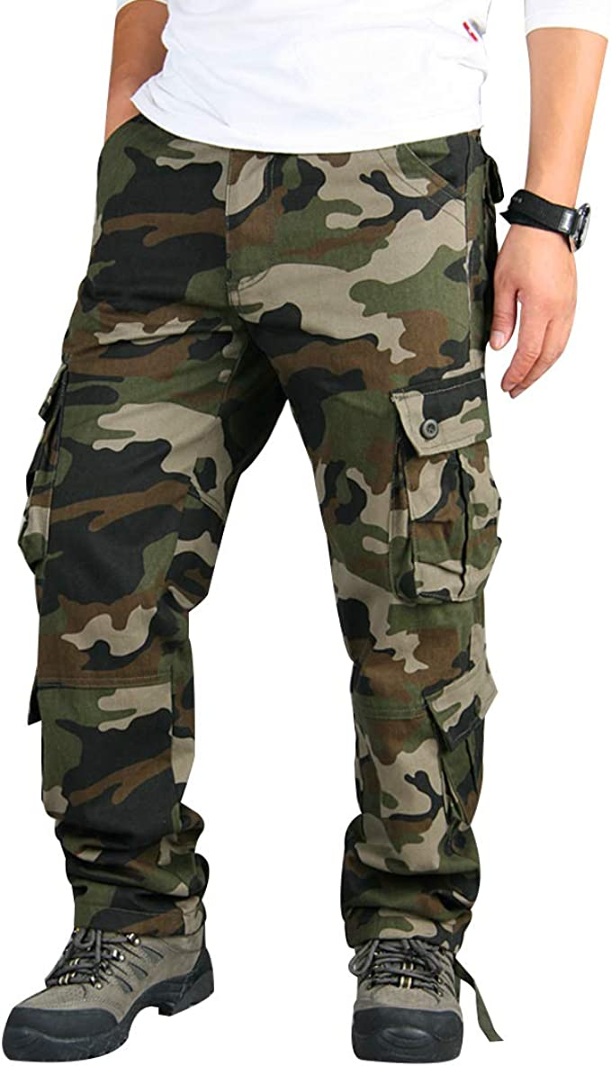 Mens Army Cargo Combat Military Bottoms Trousers Camouflage Army Pants Casual
